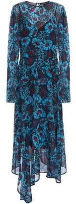 Markus Lupfer Rosie Asymmetric Floral-print Georgette Peplum Midi Dress