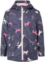 Joules Girls Unicorn Print Rubber Coat