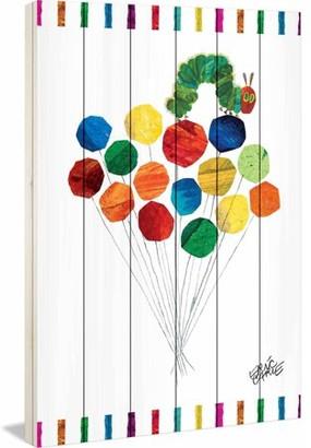 Eric Carle Caterpillar on Balloons Art Print on White Pine Wood