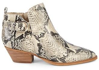 Sam Edelman Neena Embossed Snakeskin-Print Leather Heeled Booties