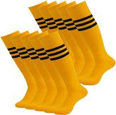 Lucky Commerce Unsiex Youth Over-Knee-High Sock with Stripe,Baseball Rugby Football Soccer Football Red 10 Pairs