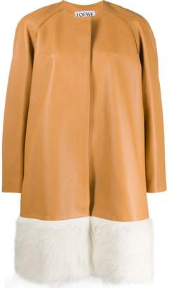 Loewe oversized fur-trimmed coat