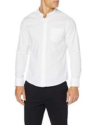 Jacamo Men's Grandad Stretch Oxford Shirt LS Regular Casual (White 001), XXXX-Large (Size:)