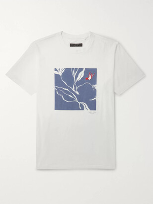 Rag & Bone Embroidered Printed Cotton-Jersey T-Shirt