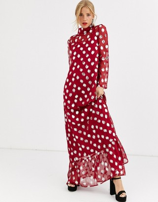 Dusty Daze maxi dress with full skirt in metallic spot