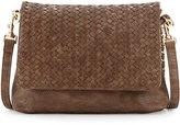 Neiman Marcus Woven Faux-Leather Reptile Shoulder Bag, Cocoa