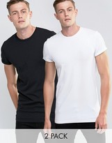 Asos 2 Pack Longline Muscle T-Shirt With Roll Sleeve In White/Black SAVE