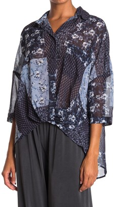 French Connection Patchwork Floral Georgette High/Low Blouse