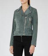 Reiss Grace - Suede Biker Jacket in Green, Womens