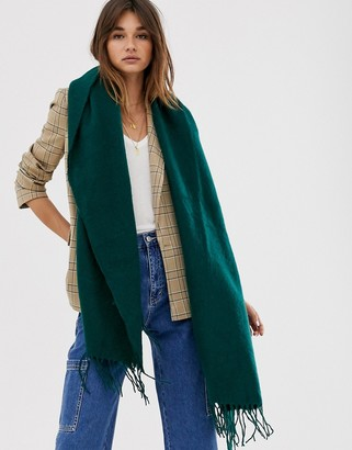 Asos Design DESIGN supersoft long woven scarf with tassels in green
