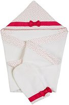 Kate Spade HOODED TOWEL and MITT SET(Infant)- Cream/ Vivid Snapdragon-Baby - One