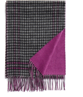 Johnstons of Elgin Black Bordered Gingham Bright Solid Cashmere Scarf