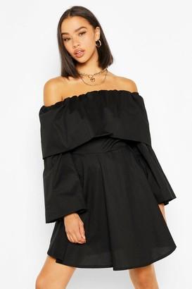 boohoo Cotton Off The Shoulder Skater Dress