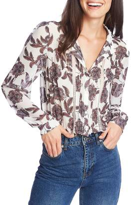 1 STATE Baroque Paisley Pintuck Blouse