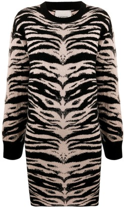 Laneus Tiger-Jacquard Sweater Dress