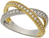 Crislu Two-Tone 18K Gold Plated Sterling Silver Criss-Cross Pave Ring