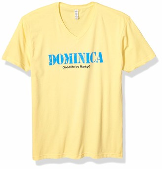 Marky G Apparel Men's Dominica Graphic Sueded V-Neck T-Shirt