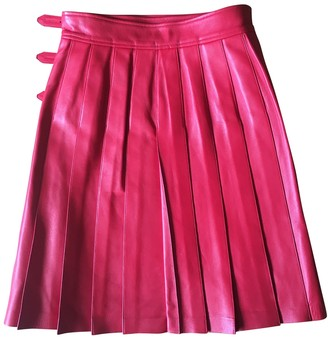 Saint Laurent Red Leather Skirt for Women