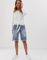 Current Air long line raw hem denim shorts