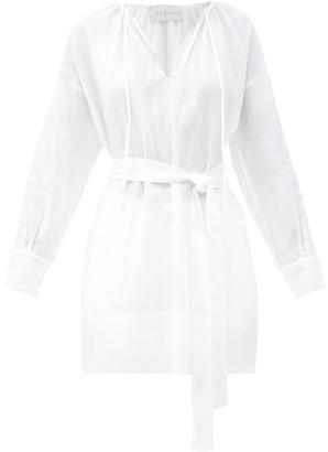 ASCENO The Santorini Belted Organic-linen Shirt - White