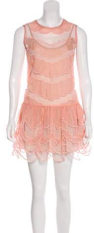 RED Valentino Mesh-Accented Mini Dress