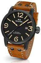 TW Steel Maverick Leather Strap Watch, 45mm