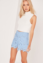 Missguided All Over Lace Floral Shorts Blue