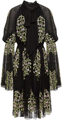 Giambattista Valli Pussy-bow Embroidered Lace Dress