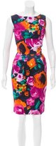 St. John Satin Floral Print Dress