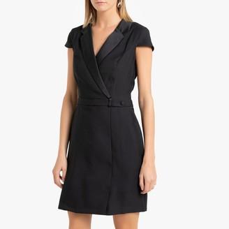 Naf Naf Short Wrapover Blazer Dress with Short-Sleeves