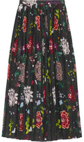 ADAM by Adam Lippes Pleated Floral-print Voile Wrap Skirt - Black