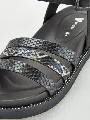 Very Honder Wide Fit Elastic Ankle Strap Sandal - Black
