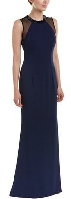 Carmen Marc Valvo Women's Crepe Halter Gown W/Strappy Illusion Back and Beaded Choker
