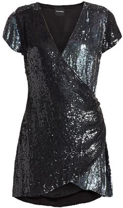 retrofete Olya Sequined Mini Wrap Dress