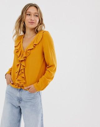 Monki v-neck frill blouse in mustard-Yellow