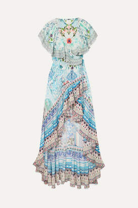 Camilla The Long Way Home Printed Silk Crepe De Chine Wrap Maxi Dress - Sky blue
