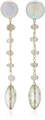 Sorab & Roshi 18K Yellow Gold Freshwater Pearl and Labradorite Dangle