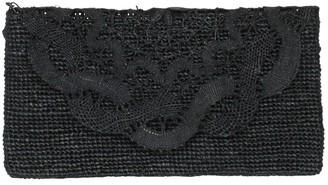 Marylou Black Handmade Lace Raffia Clutch Bag