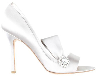 Brian Atwood Silver Satin Heel Sandals Size 39.5