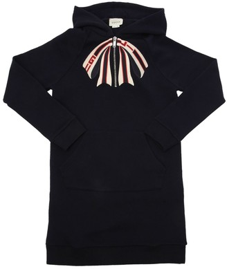 Gucci BOW EMBROIDERED COTTON SWEATSHIRT DRESS