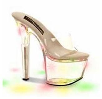 """The Highest Heel Halloween Women's 7"""" Clear Heel with Light Up Bottom"""