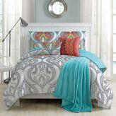 Gabina Twin XL Comforter Set in Aqua/Ivory