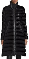 Moncler Moka Long Shiny Quilted Down Coat, Black