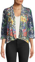 Alberto Makali Floral-Print Crochet-Lace Jacket