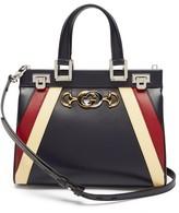 Gucci Zumi Small Striped Leather Handbag - Womens - Navy Multi