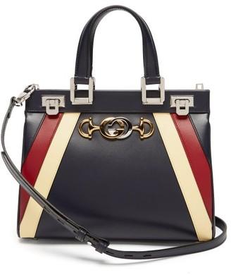 Gucci Zumi Small Striped Leather Handbag - Navy Multi