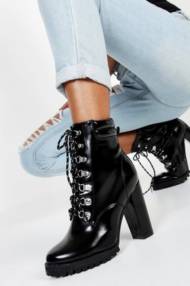 boohoo Lace Up Heeled Hiker Boots