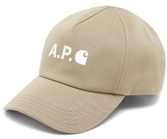 Carhartt A.P.C. X X Logo-print Cotton-blend Twill Cap - Mens - Khaki