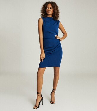 Reiss Bali - Ruched Bodycon Dress in Blue