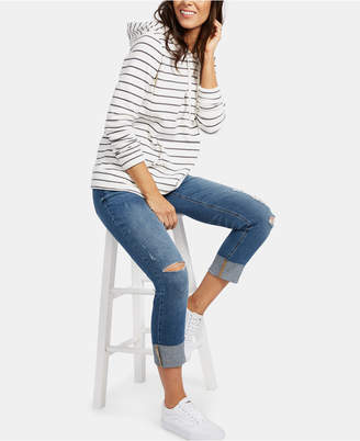 Motherhood Maternity Bounceback Post Pregnancy Distressed Cropped Jeans